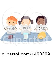 Clipart Of A Group Of Children With Solid Liquid And Gas Royalty Free Vector Illustration