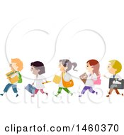 Clipart Of A Group Of Children With Physics Gear Royalty Free Vector Illustration