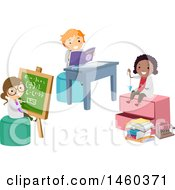 Clipart Of A Group Of Children Studying Physics Royalty Free Vector Illustration