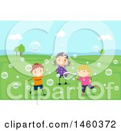 Clipart Of A Group Of Children Playing With Bubbles In A Park Royalty Free Vector Illustration by BNP Design Studio