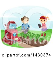 Poster, Art Print Of Happy Boy And Girl Watching A Robot Water A Garden