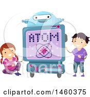 Poster, Art Print Of Happy Boy And Girl With A Robot Teacher Talking About Atoms