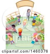 Poster, Art Print Of Group Of Children In A Garden