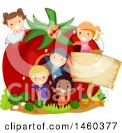 Group Of Children In A Giant Tomato House With A Blank Sign