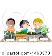 Group Of Children Selling Seedlings