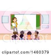 Poster, Art Print Of Group Of Children Listening To A Teacher Discuss Nutrition