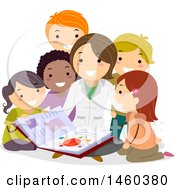 Clipart Of A Group Of Children And Teacher Discussing Physics Royalty Free Vector Illustration