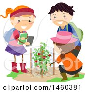 June 19th, 2017: Clipart Of A Group Of Children Taking Pictures Of A Tomato Plant In A Garden Royalty Free Vector Illustration by BNP Design Studio