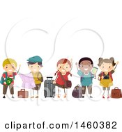 Poster, Art Print Of Group Of Children With Travel Gear Waiting In Line And Waving