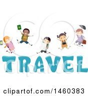 Clipart Of A Group Of Children Jumping Over The Word Travel Royalty Free Vector Illustration