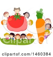June 19th, 2017: Clipart Of Groups Of Children With A Giant Tomato Carrot And Bean Pod Royalty Free Vector Illustration by BNP Design Studio