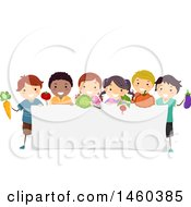 Poster, Art Print Of Group Of Children With Produce Around A Blank Sign