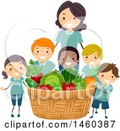 June 19th, 2017: Clipart Of A Group Of Children And Teacher With A Giant Produce Harvest Basket Royalty Free Vector Illustration by BNP Design Studio