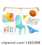Clipart Of Different Elements For Kiddie Party Games Like Rope Ball Newspaper Balloons Cards Scarf And Chair Royalty Free Vector Illustration