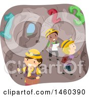 Clipart Of A Group Of Children Counting And Exploring A Cave Royalty Free Vector Illustration