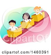 Poster, Art Print Of Group Of Children Riding Down An Incline In Boxes