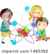 Clipart Of A Group Of Children Playing With An Atom Royalty Free Vector Illustration