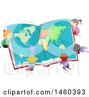 Poster, Art Print Of Group Of Children Studying A Map In A Book