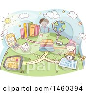 Poster, Art Print Of Sketched Group Of Children Studying Geography
