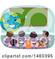 Clipart Of A Group Of Children Listening To A Gobe Teacher Royalty Free Vector Illustration