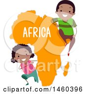 Poster, Art Print Of Happy Children Around A Map Of Africa