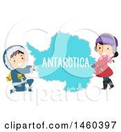 Poster, Art Print Of Happy Children Around A Map Of Antarctica