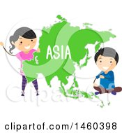 Poster, Art Print Of Happy Children Around A Map Of Asia