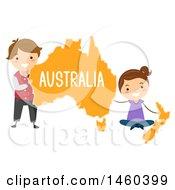Poster, Art Print Of Happy Children Around A Map Of Australia