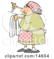 Woman Hanging Clothes On A Line To Dry In The Sunshine Clipart Illustration