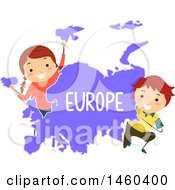 Poster, Art Print Of Happy Children Around A Map Of Europe
