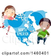 Poster, Art Print Of Happy Children Around A Map Of North America