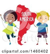 Poster, Art Print Of Happy Children Around A Map Of South America