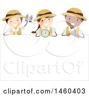 Clipart Of A Group Of Explorer Children With A Compass Binoculars And Map Over A Sign Royalty Free Vector Illustration