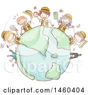 Sketched Group Of Explorer Children Around A Globe