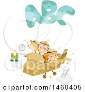 Poster, Art Print Of Group Of Explorer Children Flying In A Cardboard Plane With Abc Balloons