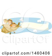 Clipart Of A Group Of Children Flying A Cardboard Plane With A Banner Royalty Free Vector Illustration by BNP Design Studio