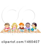 Clipart Of A Group Of Children Working At A Table Together Royalty Free Vector Illustration