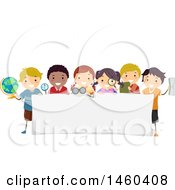 Clipart Of A Group Of Children Around A Banner Royalty Free Vector Illustration
