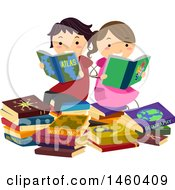 Clipart Of A Boy And Girl Reading Geography Books Royalty Free Vector Illustration