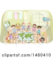 Clipart Of A Sketched Group Of Children Around A Map In A Class Room Royalty Free Vector Illustration