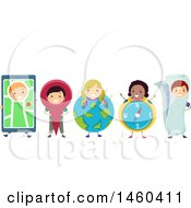 Clipart Of A Group Of Children With Navigation Items Royalty Free Vector Illustration by BNP Design Studio