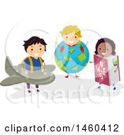 Poster, Art Print Of Group Of Children In Plane Earth And Book Costumes
