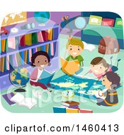 Clipart Of A Group Of Children Reading Around A Map In A Library Royalty Free Vector Illustration by BNP Design Studio