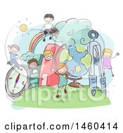 Clipart Of A Sketched Group Of Children Playing In A Book City Royalty Free Vector Illustration by BNP Design Studio
