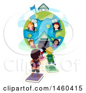 Clipart Of A Group Of Children In And Headed To A Globe School House Royalty Free Vector Illustration