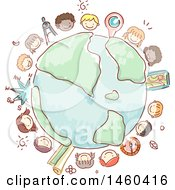 Sketched Group Of Children Around Earth