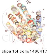 Clipart Of A Sketched Group Of Children Forming A Hand Royalty Free Vector Illustration by BNP Design Studio