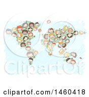 Poster, Art Print Of Sketched Group Of Children Forming A Map
