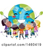 Clipart Of A Group Of Children Around A Happy Earth Royalty Free Vector Illustration by BNP Design Studio