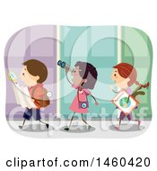 Poster, Art Print Of Group Of Children Walking With A Map And Compass